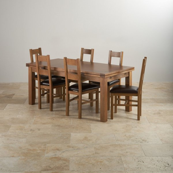 Rustic Oak Dining Set - 6ft Table With 6 Chairs