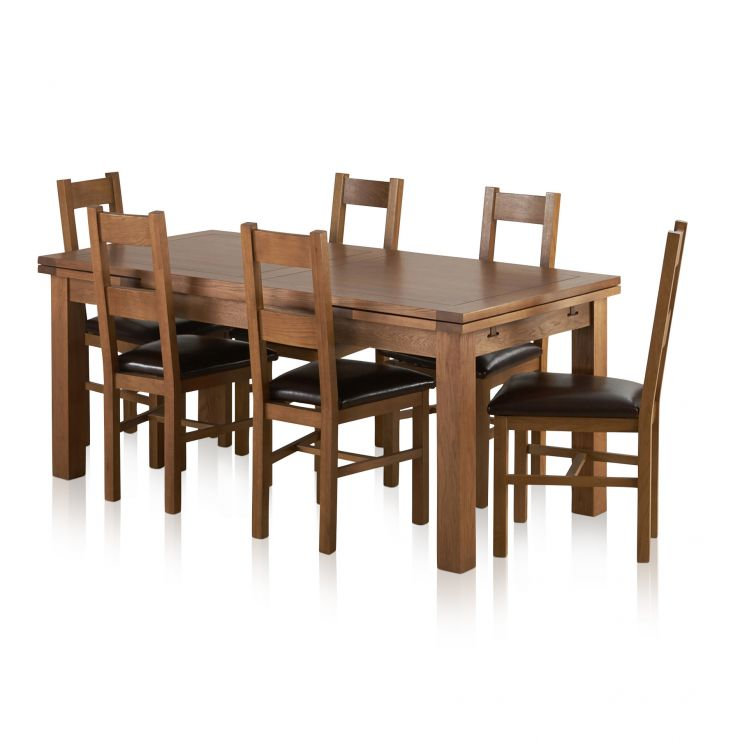 oak kitchen table sets window ideas treatments rustic dining set 6ft with 6 chairs furnitureland sherwood solid extending farmhouse and brown leather express delivery
