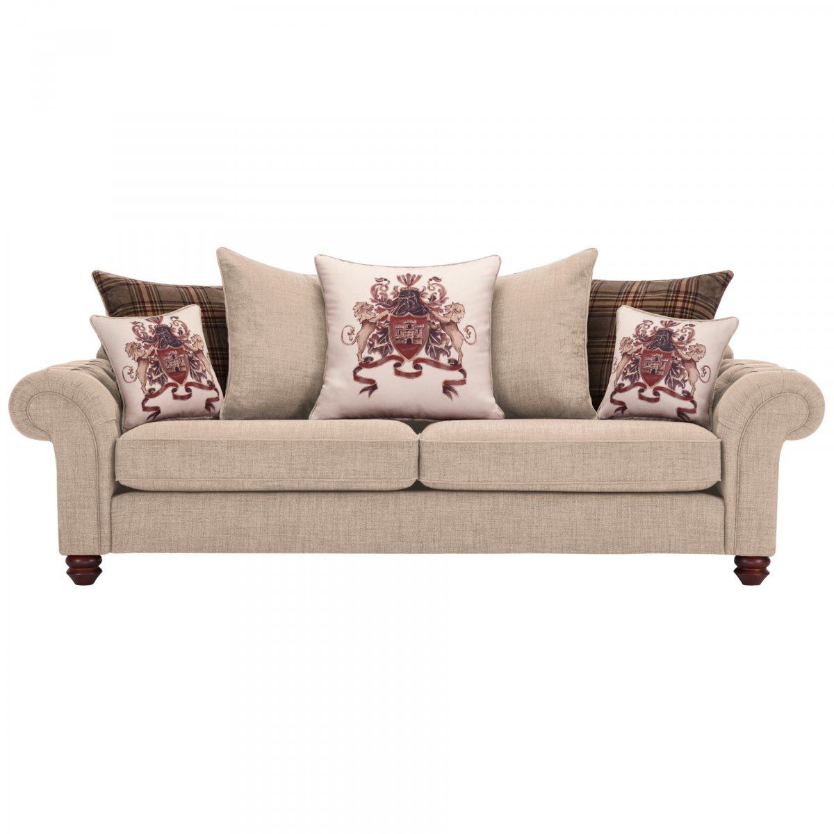 brown and beige sofa large sectional sofas uk sandringham 4 seater pillow back in 43 scatters