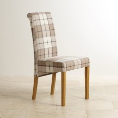 Upholstered Dining Chairs With Oak Legs Office Chair Cushion Scroll Back Solid Check Brown Fabric