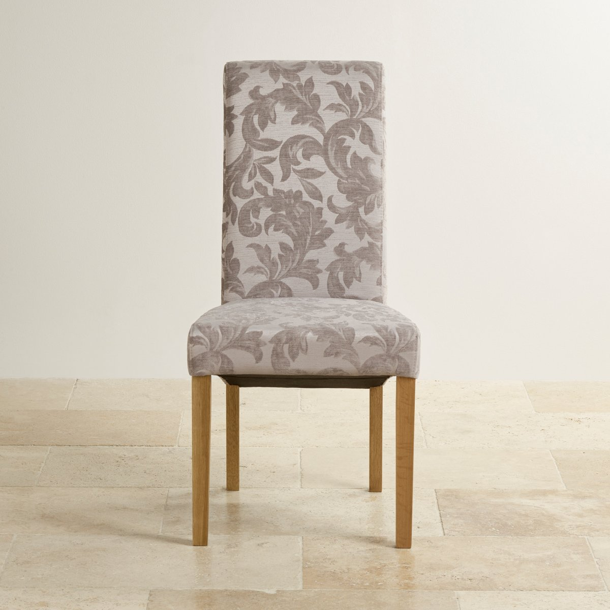 Scroll Back Fabric Chair  Patterned Silver with Solid Oak