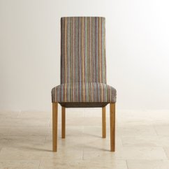 Striped Dining Chair Black Leather Lounge With Ottoman Scroll Back In Multicoloured Fabric