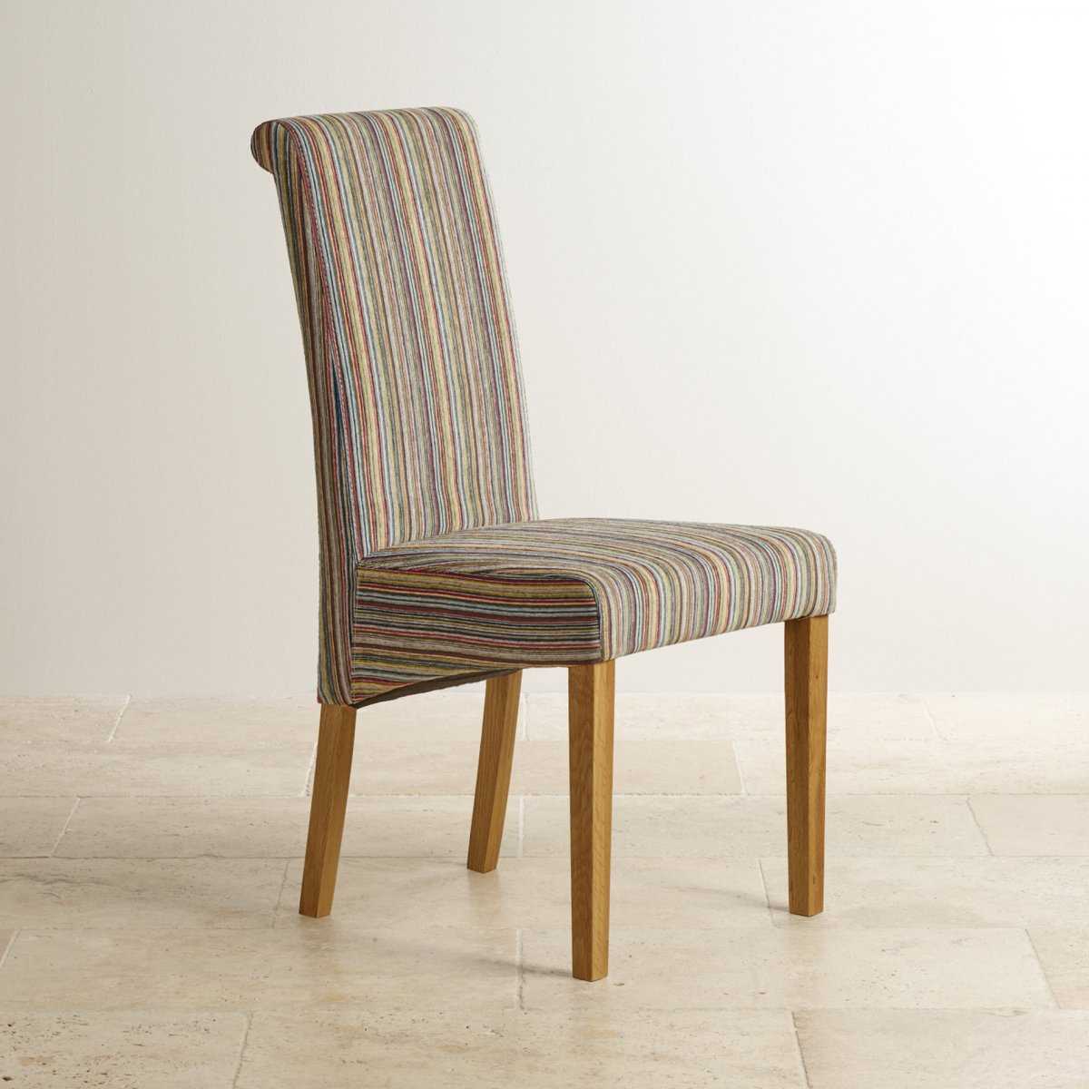 striped dining chair ikea stool covers scroll back in multicoloured fabric