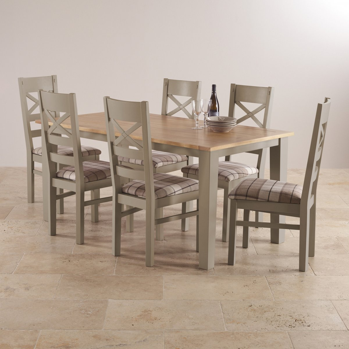 light oak dining chairs heavy duty rocking chair st ives set in grey painted acacia table 43 6