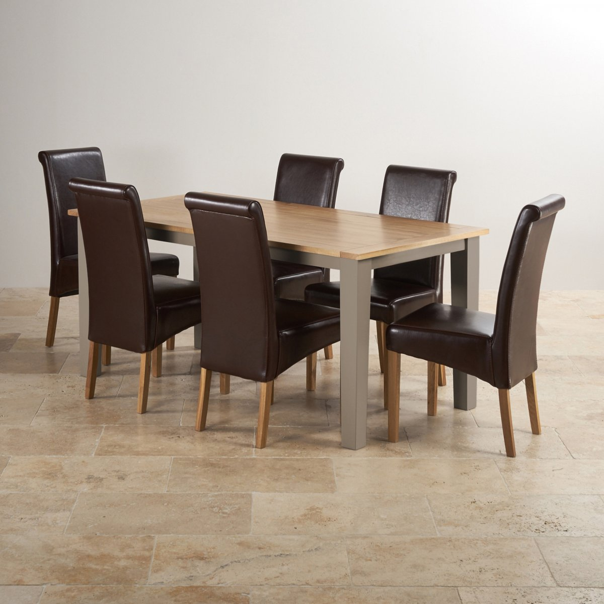St Ives Dining Set In Grey Painted Oak Table 6 Leather