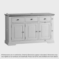 St Ives Large Grey Sideboard in Solid Hardwood   Brushed ...