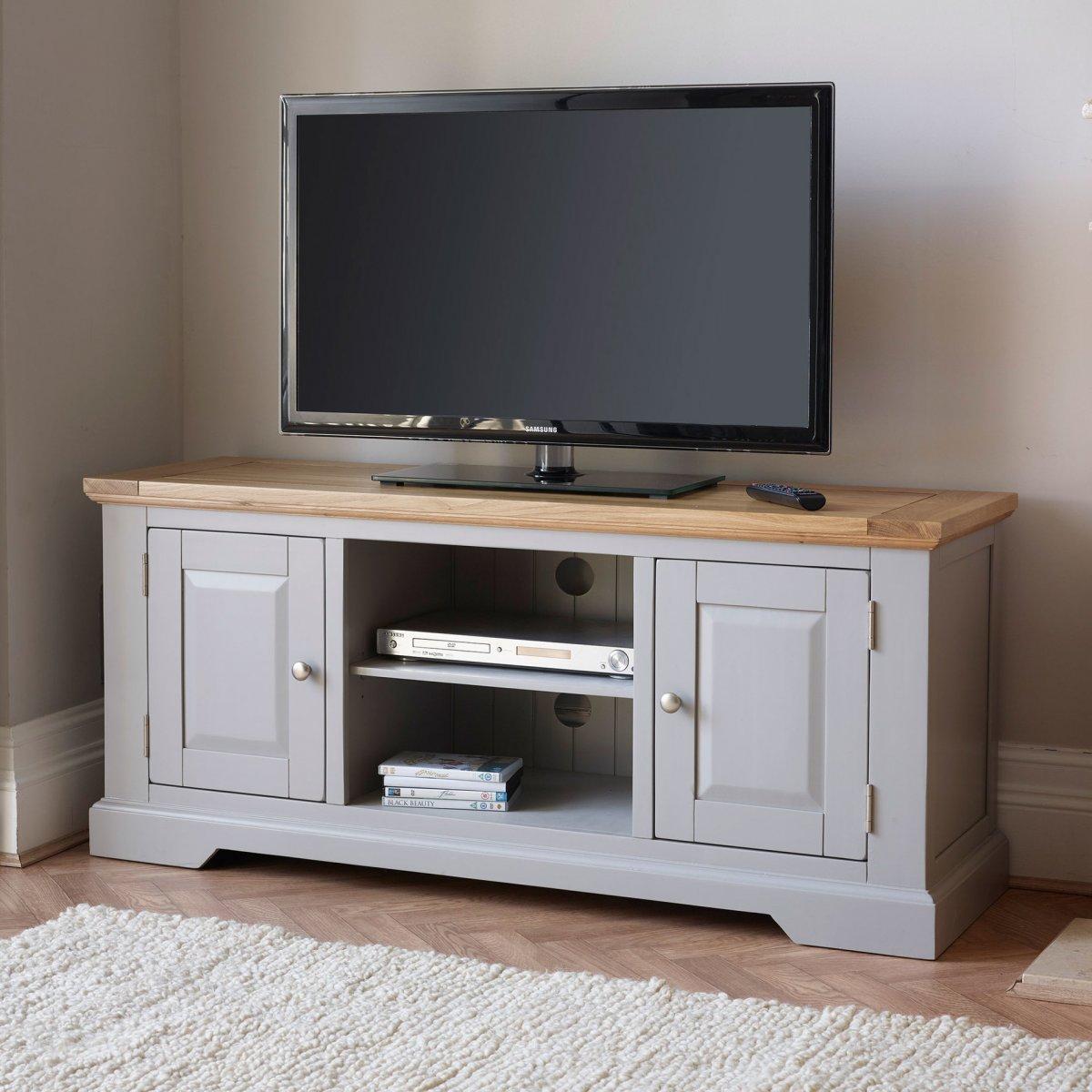 St Ives Grey TV Unit With Brushed Oak Top Oak Furniture Land