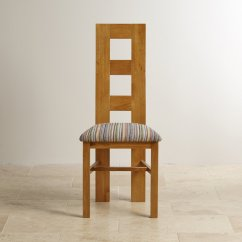 Rustic Dining Chairs Uk Ethan Allen Room Wave Back Chair In Oak Multi Striped Fabric