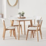 Rebekah White And Oak 110cm Round Dining Table With Rebekah Faux Leather Dining Chairs