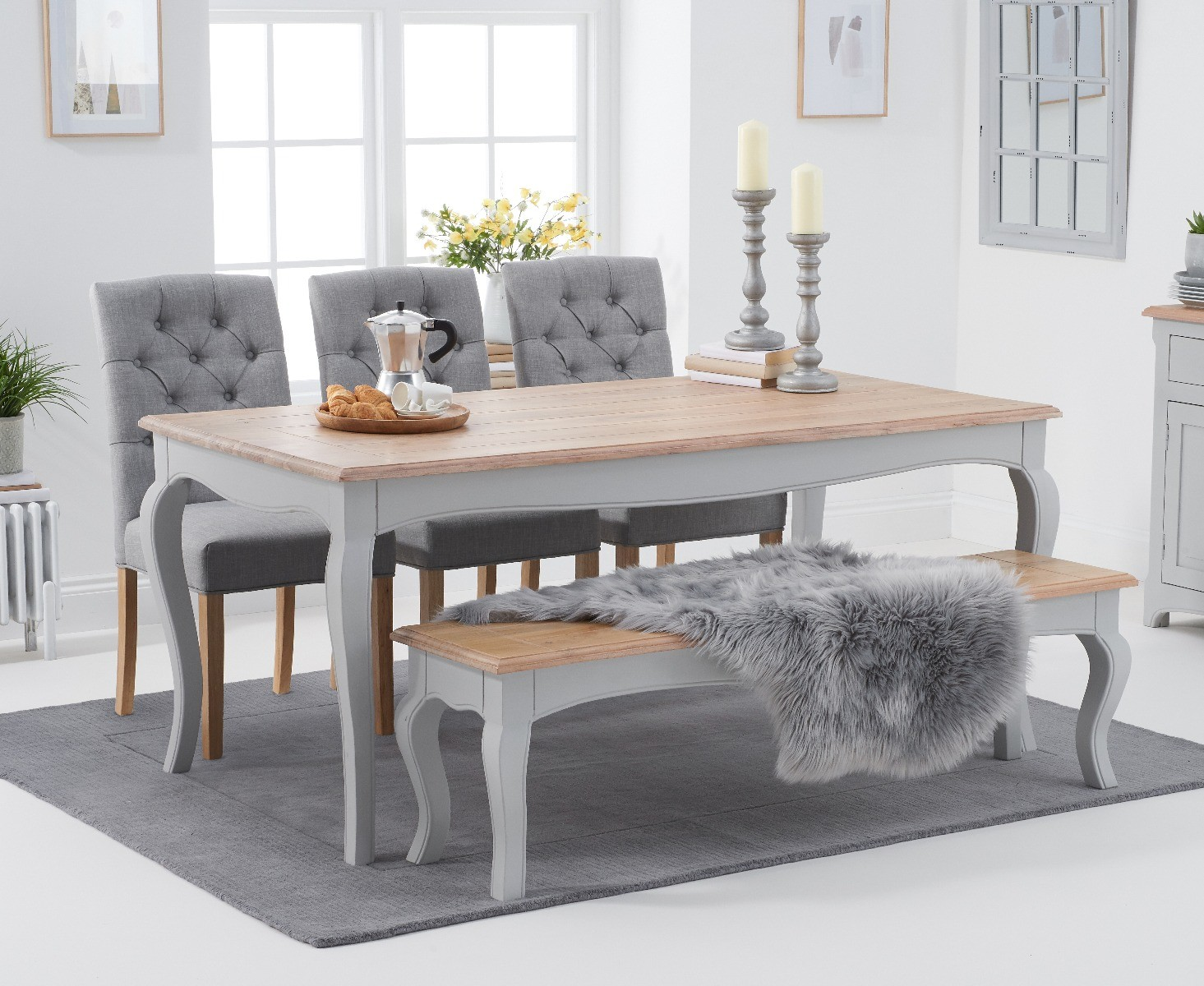 Parisian 175cm Grey Shabby Chic Dining Table With Claudia Fabric Chairs And Benches