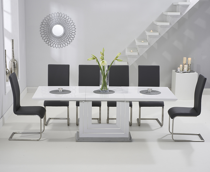 Extendable Dining Table Set Grey Erigiestudio