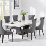 Raphael 200cm White Pedestal Marble Dining Table With Freya Chairs