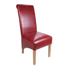 Red High Back Chair Best Tailgate Chairs Leather Scroll Dining