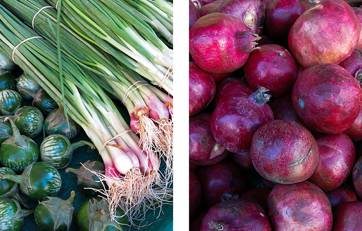 Pomegrantes and onions