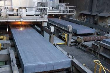 DH36 Slabs being cut as they emerge from the continuous caster at Dillingen