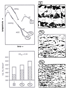Figure 2: Comparison of N and TM processing variants (route, microstructure, properties)