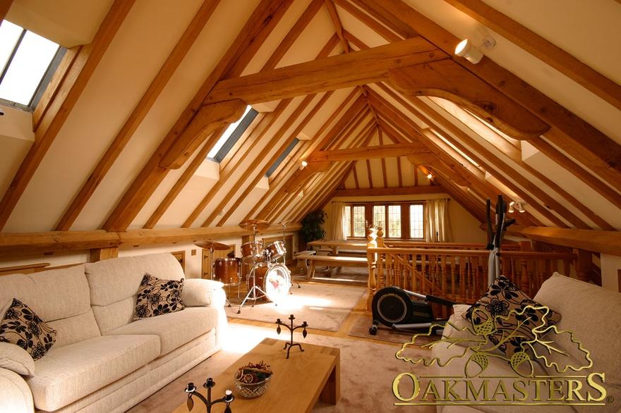 3 Bay Open Oak Garage With Family Loft Room Oakmasters