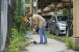 Volunteers help cleanup areas of the West Side impacted by looting (Alex Rogals/Staff Photographer).