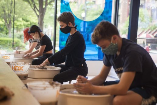 Summer camp students make pottery on Monday, June 22, 2020, at Viaclay Community Pottery Studio on Marion Street in Oak Park, Ill. | ALEX ROGALS/Staff Photographer