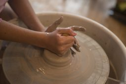 Kids make different pottery pieces during a summer camp on Monday, June 22, 2020, at Viaclay Community Pottery Sudio on Marion Street in Oak Park, Ill. | ALEX ROGALS/Staff Photographer