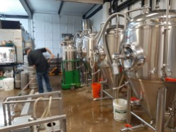 A glimpse into the three-barrel brewing system at Flapjack Brewery in Berwyn.