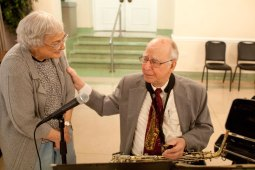 Band leader George Millonas was touched with Catherine Dauber approached him to say how much she enjoyed the concert.