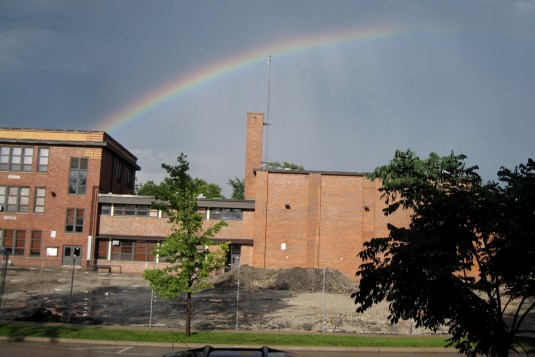 Rainbow over Irving SchoolPhoto submitted by Janice Huang