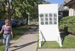Sidewalk Gallery: Paper Violets, Vellum Prose by Ames Hawkins. (DAVID PIERINI/Staff Photographer)