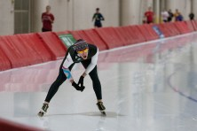 Lehman is gassed after three all-out laps on the Olympic oval at Pettit. Much the way a runner does speed training for long-distance races, Lehman did pace training, alternating between speed and rest. (David Pierini/staff photographer)