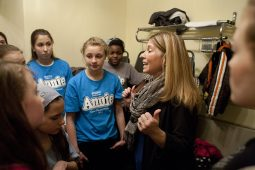 BRAVO director Tina Reynolds gives instructions to her actors before they take the stage. (DAVID PIERINI/Staff Photographer)