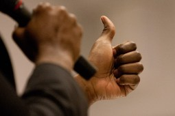 The free hand of Sercye took on an array of shapes and gestures as he spoke. (David Pierini/staff photographer)