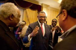 Richard Boykin greets supporters at the Carlton Hotel in Oak Park after unofficial totals showed he had won a five-way race for the District 1 seat on the Cook County Board of Commissioners. (David Pierini/staff photographer)