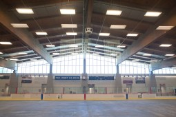 The Paul Hruby Ice Arena has the old roof but everything else is new, including locker rooms, benches, seating and the system to keep the surface frozen. (David Pierini/staff photographer)