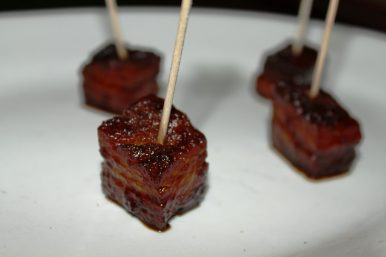 Cubes of pork belly braised, fried, tossed in Amelia's BBQ Sauce & served up lolli-pop style.