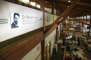 A portrait of Dr. Bernard Fantus, inventor of the first hospital blood bank, hangs above Oak Park Village Hall. (CHANDLER WEST/Staff Photographer)