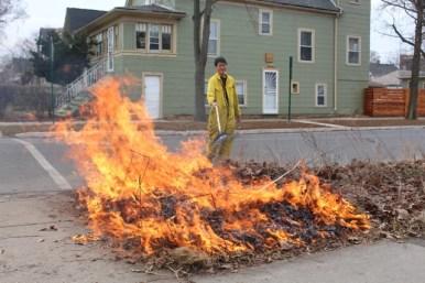 Doug Chien managing his prescribed burn. Courtesy Michele Gurgas