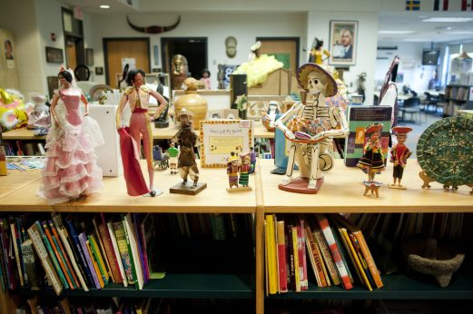 Artifacts at the entrance of the D97 Multicultural Center located inside Julian Middle School. | WILLIAM CAMARGO/Staff Photographer