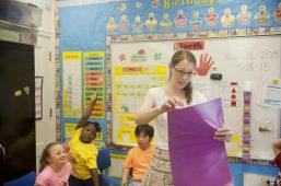 Lauren Saliny, a special ed teacher and Golden Apple Award winner, in her class on Monday May 18. | WILLIAM CAMARGO/Staff Photographer