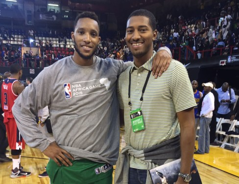 Boston Celtics guard Evan Turner, left, and his business manager Jelani Floyd experienced the first NBA Africa game together.   Courtesy Jelani R. Floyd