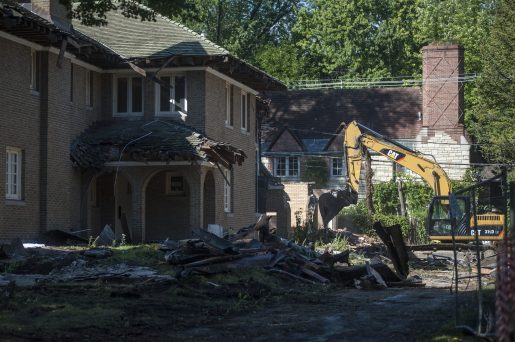 Workers, last week, demolish then remove what's left of the once-stately Mars Mansion in River Forest. | WILLIAM CAMARGO/Staff Photographer