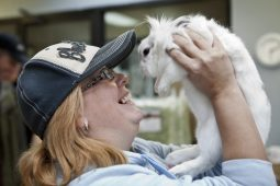 Michelle Kromer rejoices after the pampering of her bunny Puff at the Animal Care League in 2011. | FILE