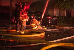The Oak Park Fire Department responds to a fire on Washington and Cuyler on Tuesday, Oct. 21, 2015. The fire started around 9:30 p.m. and continued into early Wednesday morning.| WILLIAM CAMARGO/Staff Photographer