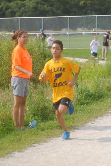 St. Luke seventh grader Anthony Vazquez notched a PR (personal record) and the school's fastest two-mile time ever of 13 minutes, 20 seconds at the IESA sectional meet at Busse Woods in Elk Grove Village on October 10. (Courtesy Anna Dooley)