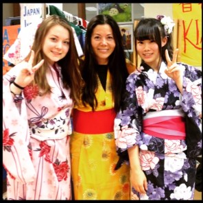 Mariko, Lourdes and Asuka, their Japanese exchange student, during OPRF's 2015 Japanese Fest. | Courtesy Lourdes Nicholls