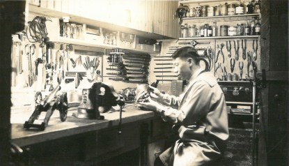 Kiyotsugu Tsuchiya in his workshop at the Harding Museum, where he was curator of the mansion's collection. | Courtesy Lourdes Nicholls