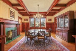 The ground floor features plenty of mahogany and quarter-sawn oak. | Courtesy of Coldwell Banker