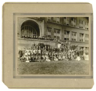 Hemingway's class of 1917 in front of the former main entrance to OPRF High School on Ontario Street. | Hemingway Foundation