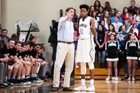 Fenwick basketball coach Rick Malnati and DJ Steward talk strategy. | File photo