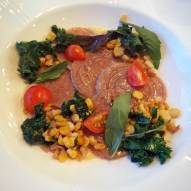 Corzetti with corn puree, cherry tomatoes and kale from the last farm dinner at The Heritage/Photo: Mischa DeHart