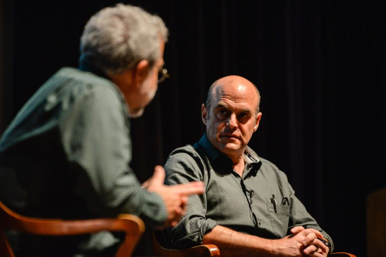 Peter Sagal, right, listens to questions Charlie Meyerson asks him on Monday, Nov. 20, during the 2nd Wednesday Journal Conversations at Dominican University on Division Street in River Forest. | ALEXA ROGALS/Staff Photographer